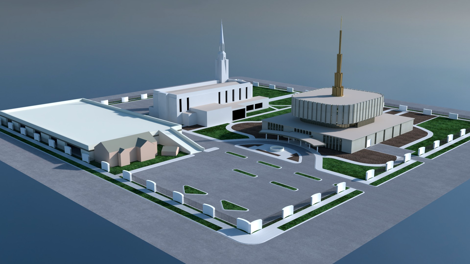 Ogden Utah Temple original design and landscaping