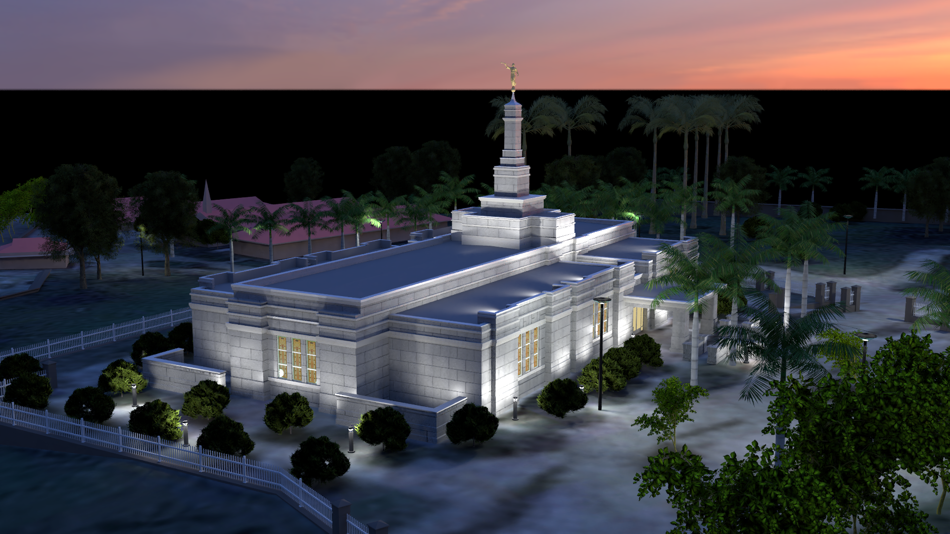 Aba Nigeria Temple at dusk